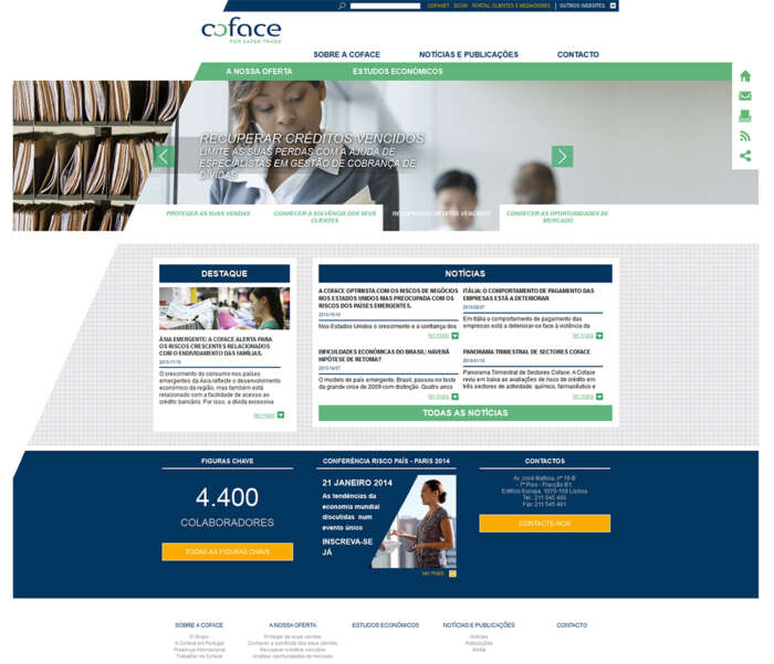 Novo site institucional da Coface