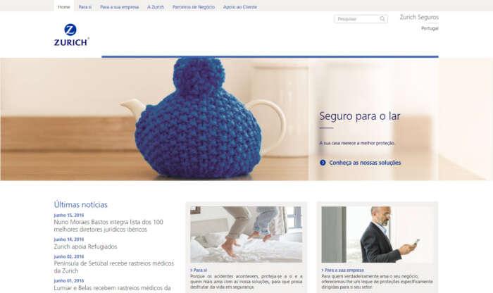 Novo site corporativo da seguradora Zurich